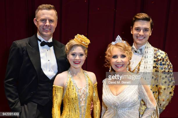 Cast members Tom Lister Clare Halse Lulu and Ashley Day pose backstage at the 42nd Street 1st Anniversary Gala Performance featuring new cast member...
