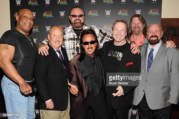 Cast members Tony Atlas Gene Okerlund Hillbilly Jim Jimmy Hart Rowdy Roddy Piper Hacksaw Jim Duggan and Howard Finkel attend the WWE screening of...