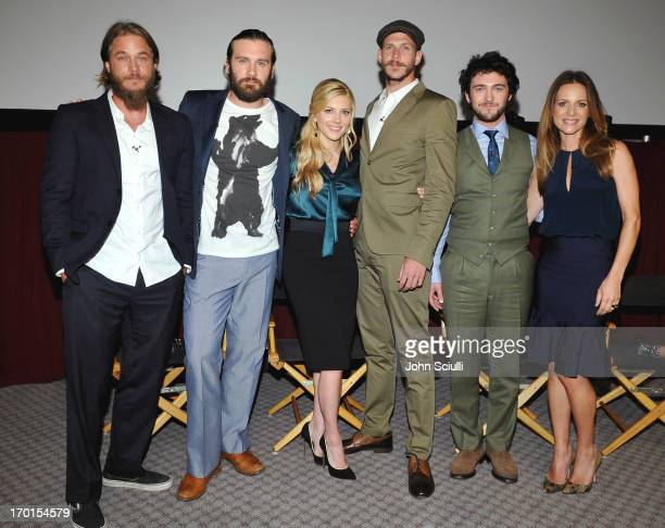 Cast members Travis Fimmel Clive Standen Katheryn Winnick Gustaf Skarsgard George Blagden and Jessalyn Gilsig attend the 'Vikings' For Your...