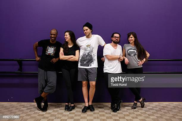 Cast members Travis Knights Allison Toffan, Danny Nielsen, Ryan Foley and Stephanie Cadman while rehearsing for the Big Band Tap Revue in Toronto,...