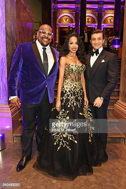 Cast members Trevor Dion Nicholas Jade Ewen and Dean JohnWilson attend the press night after party for Disney's Aladdin at The National Gallery on...