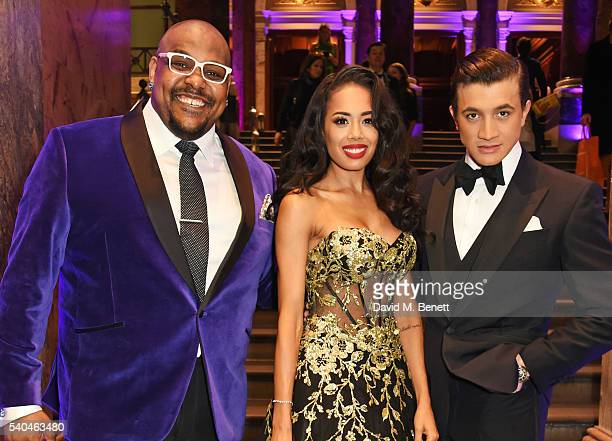 Cast members Trevor Dion Nicholas Jade Ewen and Dean JohnWilson attend the press night after party for Disney's 'Aladdin' at The National Gallery on...