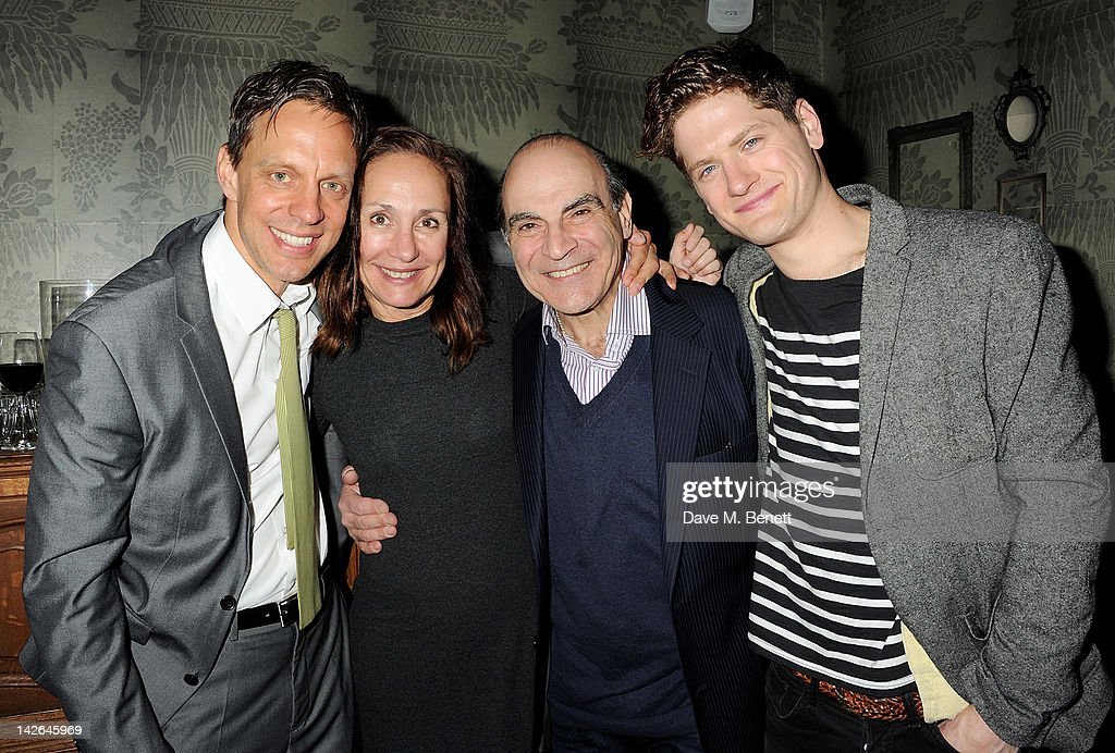 Cast members Trevor White, Laurie Metcalf, David Suchet and Kyle Soller attend an after party celebrating the press night performance of 'Long Day's Journey Into Night', playing at The Apollo Theatre, at Kettner's on April 10, 2012 in London, England.