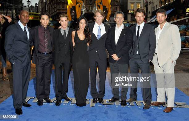 Cast members Tyrese Gibson Ramon Rodriguez Shia LaBeouf Megan Fox Michael Bay John Terterro Josh Duhamel and Matthew Marsden attend the UK premiere...