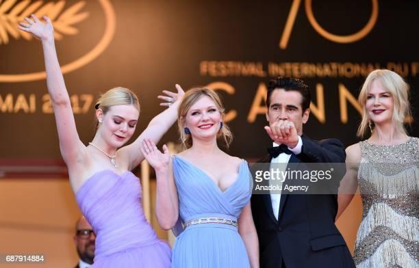 Cast members US actress Elle Fanning US actress Kirsten Dunst Irish actor Colin Farrell and Australian actrees Nicole Kidman arrive for the premiere...