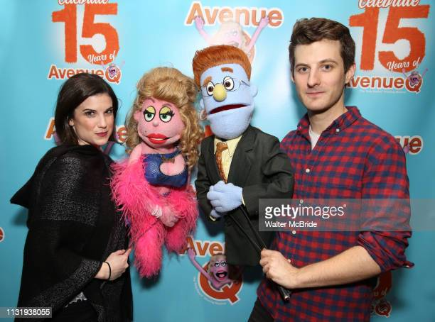 Cast members Veronica J Kuehn and Matt Dengler during Avenue Q Celebrates World Puppetry Day at The New World Stages on 3/21/2019 in New York City