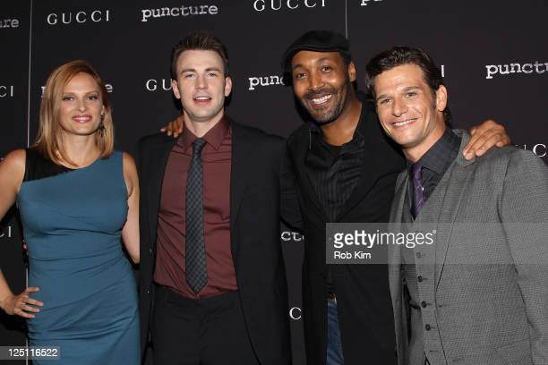 Cast members Vinessa Shaw Chris Evans Jesse L Martin and Mark Kassen attend the 'Puncture' premiere at the Angelika Film Center on September 15 2011...