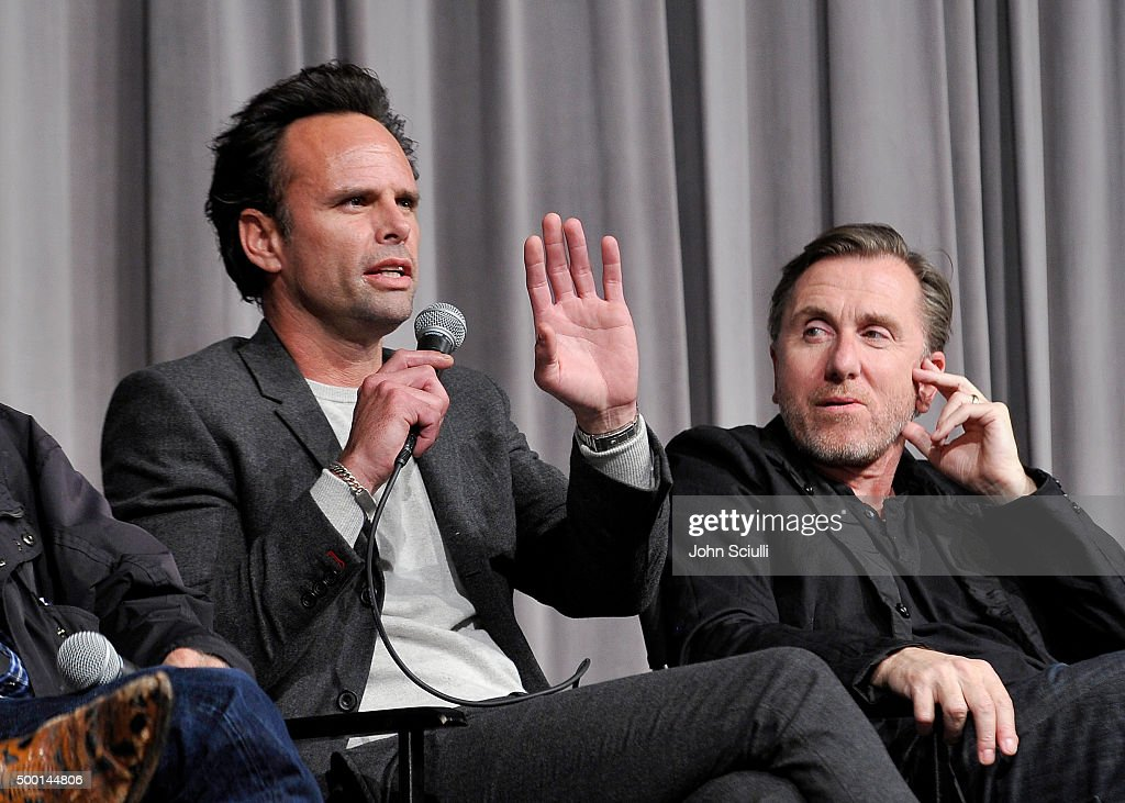 Cast members Walton Goggins and Tim Roth attend the Hateful Eight SAG Screening and Q&A at the Pacific Design Center on December 5, 2015 in West Hollywood, California.