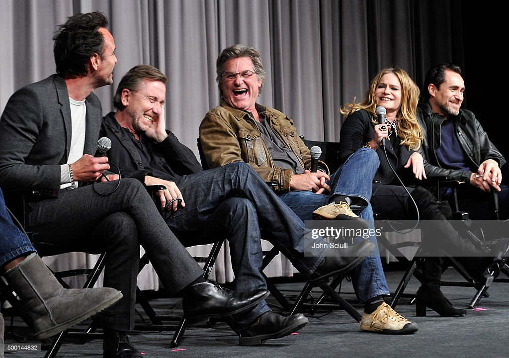 Cast members Walton Goggins, Tim Roth, Kurt Russell, Jennifer Jason Leigh and Demian Bichir attend the Hateful Eight SAG Screening and Q&A at the Pacific Design Center on December 5, 2015 in West Hollywood, California.