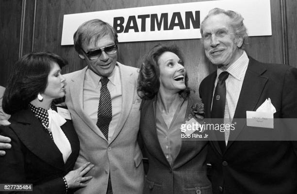 'BATMAN' cast members Yvonne Craig Adam West Lee Meriwether and Vincent Price pose at luncheon at Century Plaza Hotel April 13 1983 in Los Angeles...