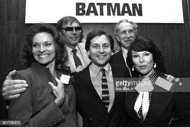 'BATMAN' cast members Yvonne Craig Adam West Lee Meriwether Vincent Price and Burt Ward pose at luncheon at Century Plaza Hotel April 13 1983 in Los...