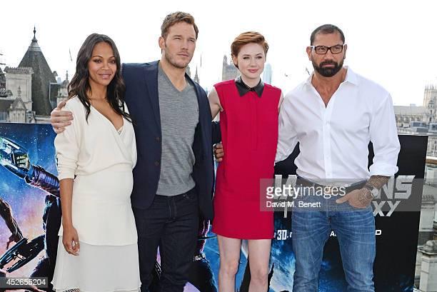 Cast members Zoe Saldana Chris Pratt Karen Gillan and David Bautista pose at the Guardians of the Galaxy photocall at The Corinthia Hotel on July 25...