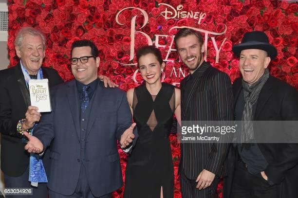 Cast membersIan McKellen Josh gad Emma Watson Dan Stevens and Ewan McGregor pose backstage at the New York special screening of Disney's liveaction...