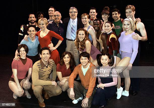 Cast of A Chorus Line poses for photos Bottom row Mara Davi Michael Berresse Alisan Porter Jason Tam Yuka Takara Second row Jeffery Schecter...