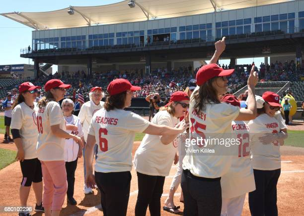 Cast of 'A League of Their Own' and the original players in the All American Girls Professional Baseball League and original members of the Rockford...