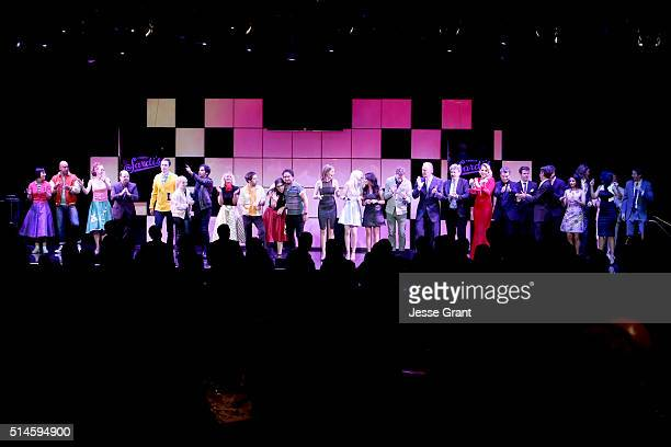 Cast of A Night at Sardi's pose onstage during the 24th and final A Night at Sardi's to benefit the Alzheimer's Association at The Beverly Hilton...