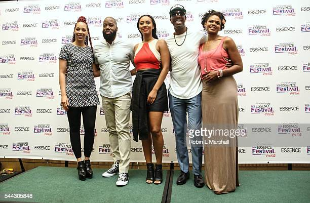 Cast of Almost Christmas Kimberly Elise JB Smoove Keri Hilson and Director David E Talbert and wife Lyn Talbert attend 2016 Essence Festival at...