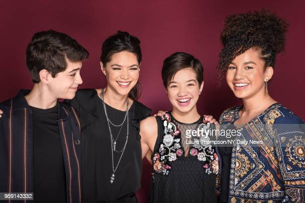 Cast of 'Andi Mack' lr Joshua Rush Lilan Bowden Peyton Elizabeth Lee and Sofia Wylie are photographed for NY Daily News on February 21 2018 in New...