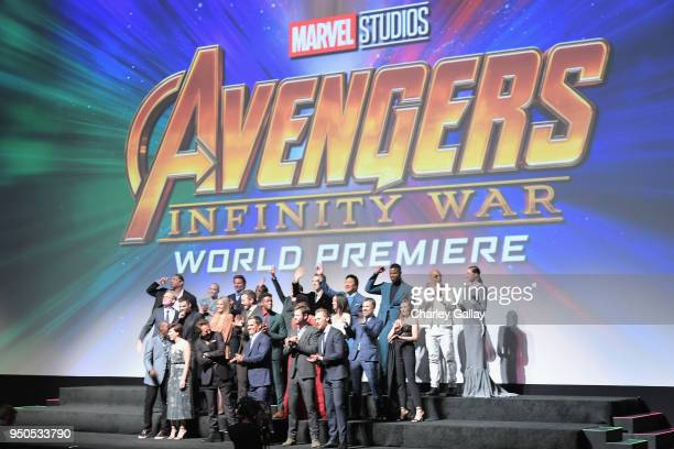 Cast of Avengers Infinity War' attend the Los Angeles Global Premiere for Marvel Studios' Avengers Infinity War on April 23 2018 in Hollywood...