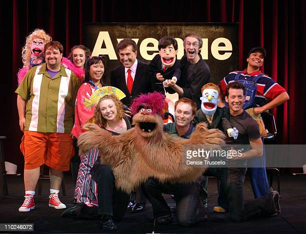 Cast of AVENUE Q with Steve Wynn during Avenue Q Press Conference at Wynn Las Vegas August 16 2005 at Wynn Las Vegas in Las Vegas Nevada United States