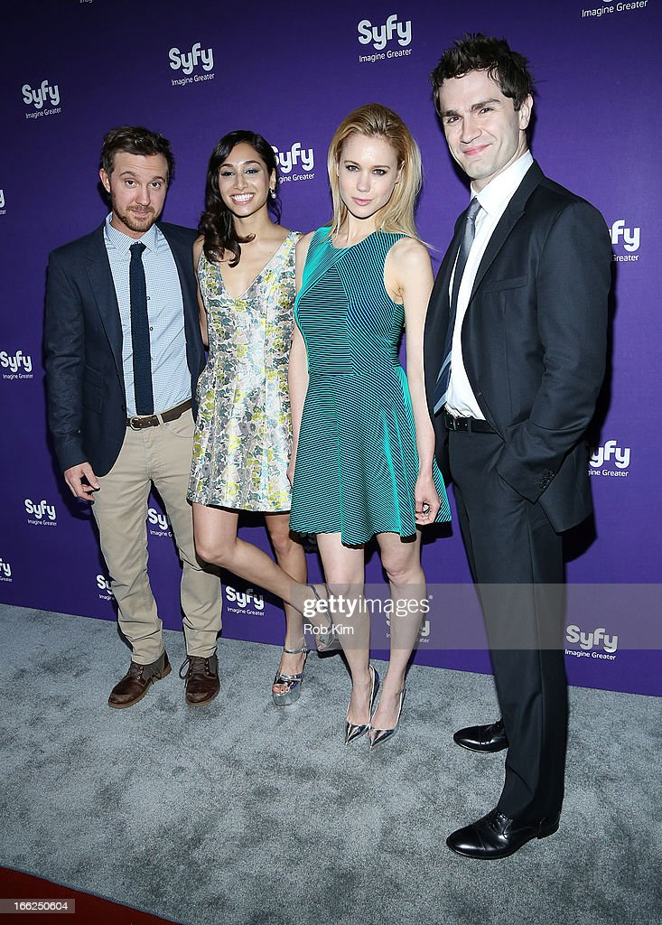Cast of 'Being Human' Sam Huntington, Meaghan Rath, Kristen Hager and Sam Witwer attend Syfy 2013 Upfront at Silver Screen Studios at Chelsea Piers on April 10, 2013 in New York City.