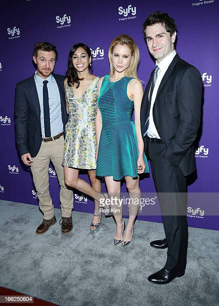 Cast of Being Human Sam Huntington Meaghan Rath Kristen Hager and Sam Witwer attend Syfy 2013 Upfront at Silver Screen Studios at Chelsea Piers on...