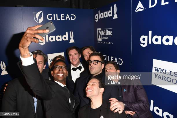 Cast of 'Boys in the Band' pose backstage at the 29th Annual GLAAD Media Awards at The Beverly Hilton Hotel on April 12 2018 in Beverly Hills...