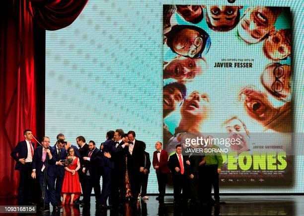 Cast of 'Campeones' receive the best film award at the 33rd Goya awards ceremony in Seville on February 2 2019