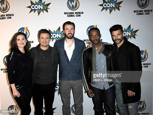 Cast of 'Captain America Civil War' Hayley Atwell Jeremy Renner Chris Evans Anthony Mackie and Frank Grillo on day 2 of Wizard World Comi Con New...