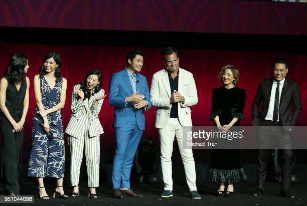 Cast of Crazy Rich Asians onstage during the 2018 CinemaCon Warner Bros Pictures 'The Big Picture' an exclusive presentation held at The Colosseum at...