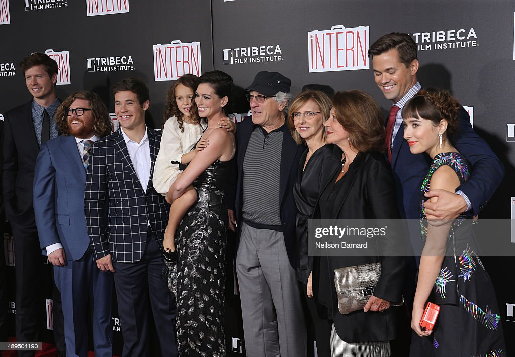 cast of crew of  u0026quot the intern u0026quot  attends  u0026quot the intern u0026quot  new york premiere    news photo