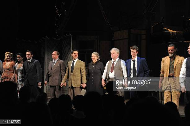 Cast of Death Of A Salesman takes a curtain call at the Broadway opening night of Death Of A Salesman at the Barrymore Theatre on March 15 2012 in...