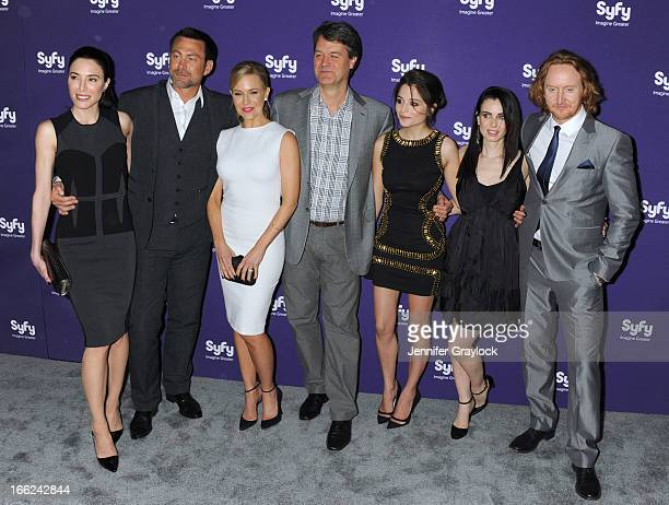 Cast of Defiance L-R Jaime Murray, Grant Bowler, Julie Benz, Kevin Murphy, Mia Kirshner and Tony Curran attends the Syfy 2013 Upfront at Silver...