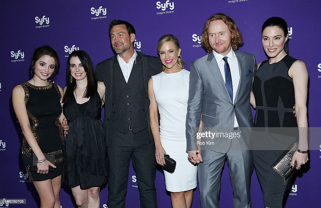 Cast of 'Defiance' Stephanie Leonidas, Mia Kirshner, Grant Bowler, Julie Benz, Tony Curran and Jaime Murray attend Syfy 2013 Upfront at Silver Screen Studios at Chelsea Piers on April 10, 2013 in New York City.