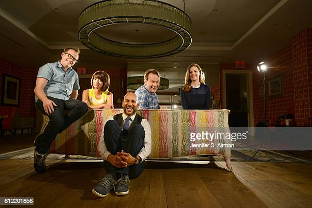 Cast of Don't Think Twice are photographed for Los Angeles Times on July 18 2016 at the Crosby Street Hotel in New York City