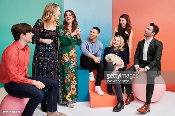 Cast of 'Filthy Rich' Mark L. Young, Olivia Macklin, Aubrey Dollar, Benjamin Levy Aguilar, Kim Cattrall, Melia Kreiling and Corey Cott are...