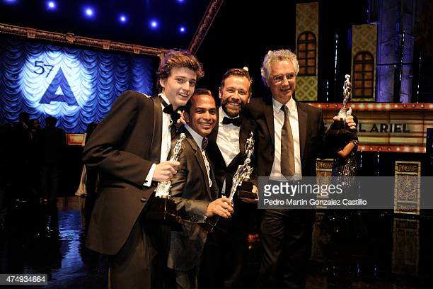 Cast of Güeros pose with their awards after the 57th Ariel Awards Ceremony at Bellas Artes Palace on May 27 2015 in Mexico City Mexico