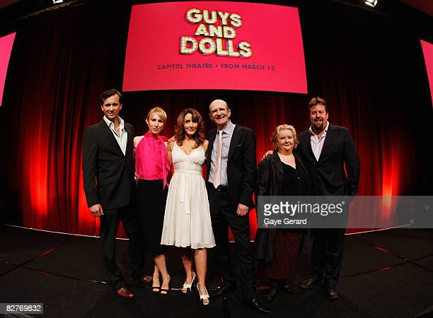 Cast of Guys and Dolls Ian Stenlake Lisa McCune Marina Prior Garry McDonald Magda Szubanski and Shane Jacobson pose during the media launch for `Guys...