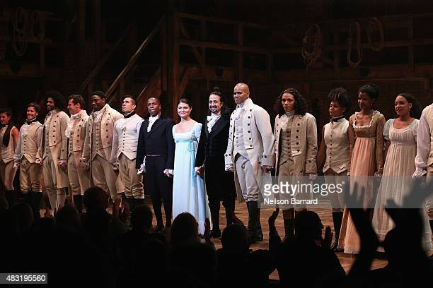 Cast of Hamilton perform at Hamilton Broadway Opening Night at Richard Rodgers Theatre on August 6 2015 in New York City