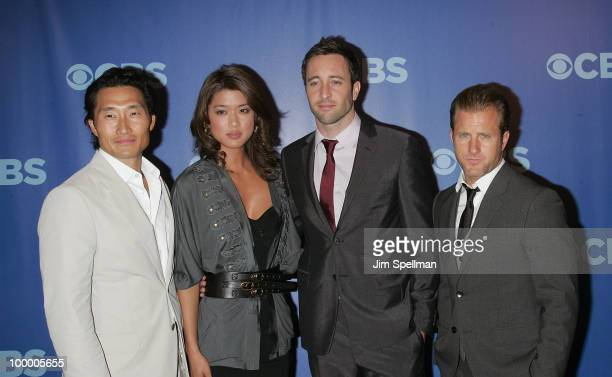 Cast of Hawaii FoveO 2010 Daniel Dae Kim Grace Park Alex O'Loughlin and Scott Caan attend the 2010 CBS Upfront at The Tent at Lincoln Center on May...