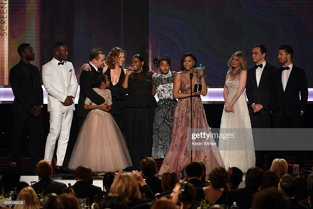 Cast of 'Hidden Figures' accepts Outstanding Performance by a Cast in a Motion Picture onstage during The 23rd Annual Screen Actors Guild Awards at The Shrine Auditorium on January 29, 2017 in Los Angeles, California. 26592_014