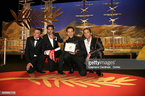 Cast of 'Indigenes' Roschdy Zem Jamel Debbouze Sami Bouajila and Bernard Bancan from 'Indigenes' that received the Best Male Actor award jointly at...