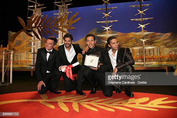Cast of 'Indigenes' Roschdy Zem Jamel Debbouze Sami Bouajila and Bernard Bancan that received the Best Male Actor award jointly at the closing...