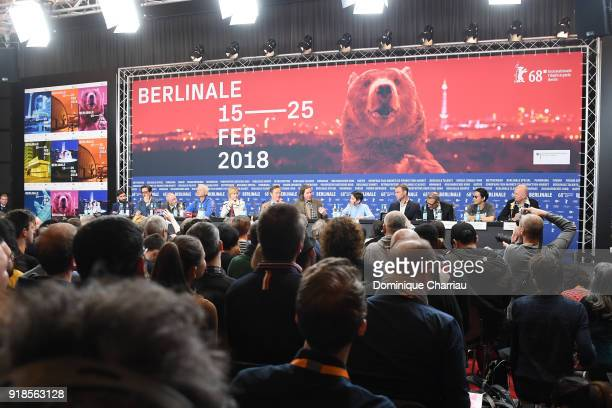Cast of 'Isle of Dogs' is seen during the press conference during the 68th Berlinale International Film Festival Berlin at Grand Hyatt Hotel on...