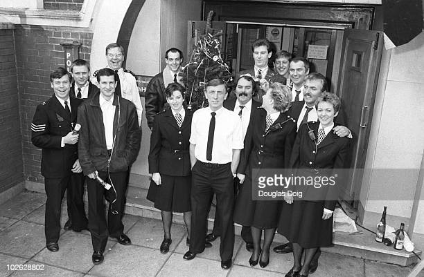 Cast of ITV television show The Bill on December 22 1988 Back Mark Powley Larry Dann Colin Blumenau Jon Iles Mark Wingett Christopher Ellison and...