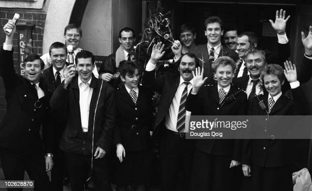 Cast of ITV television show The Bill on December 22 1988 Back Mark Powley Larry Dann Colin Blumenau Mark Wingett Jon Iles Christopher Ellison and...