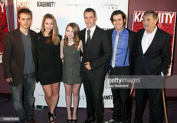 Cast of Kalamity Jonathan Jackson Alona Tal Sammi Hanratty Christopher M Clark Tyler Parkinson and Robert Forster arrive at 'Kalamity' Los Angeles...