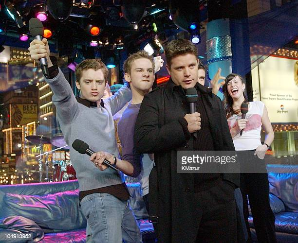 Cast of Lord of the Rings clowning around on TRL during Lord of the Rings Cast Visits MTV's TRL December 14 2001 at MTV's Times Square Studios in New...