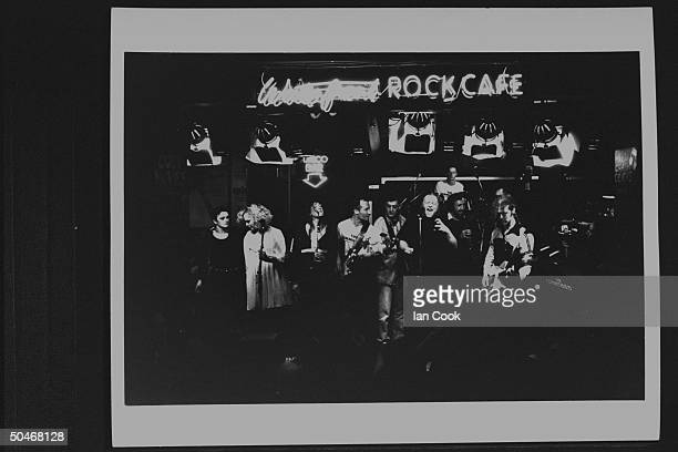 Cast of movie The Commitments performing in Waterfront Rock Cafe as they did as soul group in the film incl Bronagh Gallagher Angeline Ball Maria...