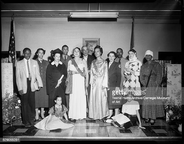 Cast of NAACP pageant 'Milestones of Democracy' seated from left Cheryl and Billye Gambrell standing William Coleman Mary James Essie Roberts...